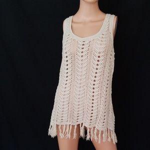 3/$24💟NEW DIRECTIONS Crochet See Thru Fringe Top